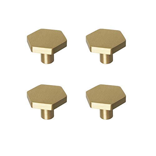"""RZDEAL 1-1/10"""" Solid Brass Knobs Shoe Cabinets Knob and Pulls Brushed Gold Hexagon Handles for Dresser Drawer (4Pcs)"""