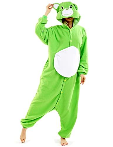 Adult Green Bear Pajamas Care One Piece Halloween Costume Unisex Animal Homewear Sleepwear Jumpsuit