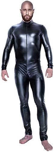 ZHANGSL Glänzende Lackleder Catsuit, Ganzkörper-Männer Design Sexy Latex Eng Zipper Jumpsuit Rubber Bekleidung Clubwear,X-Large