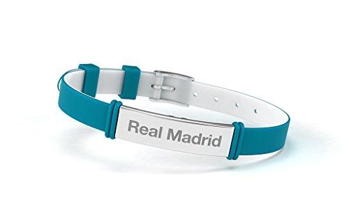 Pulsera Real Madrid Club de Fútbol Fashion Turquesa Ajustable para Hombre, Mujer y Niño. Pulsera de silicona y acero inoxidable. Producto Oficial.