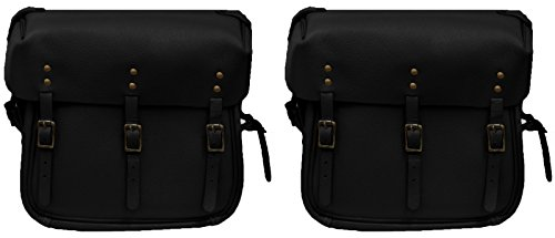 Ultimate Arms Gear Black U.S. Army Military WW2 United States Reproduction Leather Harley Davidson WLA 1941-1945 Motorcycle Saddlebag Saddle Bag & Mount Strap+Pin Set Replaces OEM 11786-43