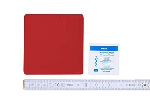 Flickly Anhänger Planen Reparatur Pflaster | in vielen Farben erhältlich | 10cm x 10cm | SELBSTKLEBEND (feuerrot)
