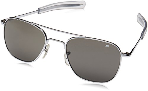 AO Eyewear American Optical - Original Pilot Aviator Sunglasses with Bayonet Temple and Silver Frame, True Color Grey Glass Lens
