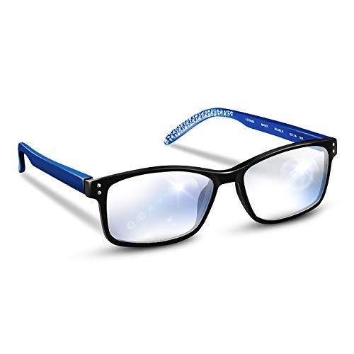 Blue Merlin - Occhiali da computer con lenti in policarbonato antiriflesso, montatura TR-90, montatura in TR-90, colore blu Blu Nero e blu. +0.00