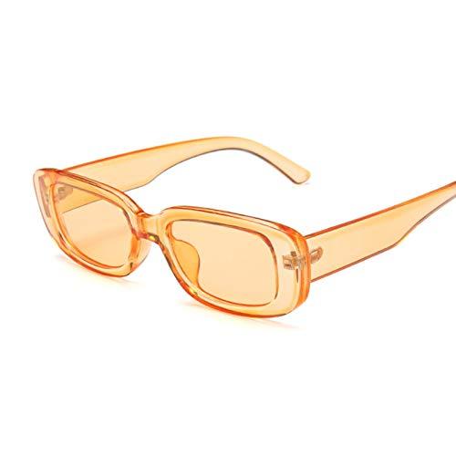 Rétro Petites Lunettes De Soleil Rectangulaires en Plastique Tendance De La Mode Lentille Transparente Dégradé Parasol Miroir Orange