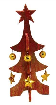 ZAMBIASI Albero di Natale Legno Rosso cm 30