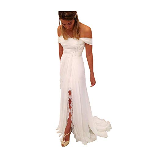 Fancrout Womens Off The Shoulder Sheath Beach Wedding Dresses Pleated Lace Bridal Gowns with Split White