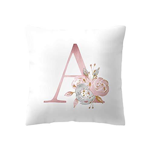 BIGBOBA Kreativ Brief Kissenbezug mit Blumenmuster Pillowcase Sofa Kissen Englisch Alphabet Kissenbezüge Dekorativer Kissenbezug 45cm*45cm (A)