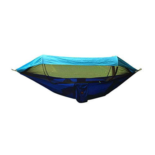 PortableDoubleHammock Tent Waterproof with Storage Bag + Strap,300kg Load Capacity (290x145cm) Blue Tree Swing for Backpacking Hiking Travel Outdoor