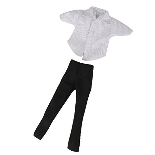Puppen Kleidung Weiß T-Shirt Und Schwarz Hosen Anzug für Barbie Ken Doll