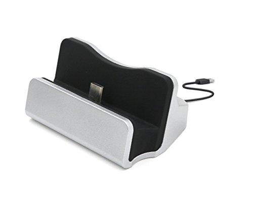 AXYO USB-C 充電クレードル 充電スタンド 卓上ホルダー タイプC 充電 データ同期 ホルダ USB Type Cポートのデバイスに対応 シルバー