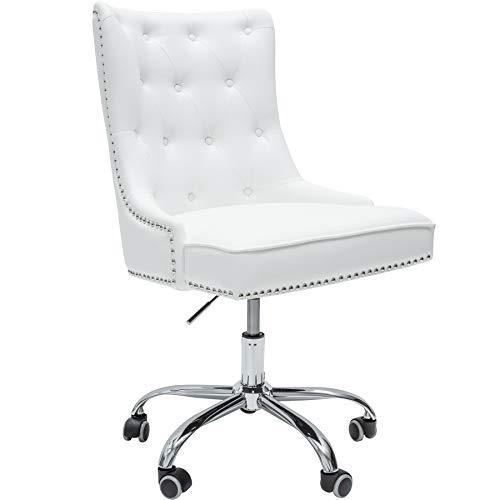 Invicta Interior Design Bürostuhl Victorian Lederoptik weiß Drehstuhl mit Armlehne Stuhl höhenverstellbar mit Leichtlaufrollen