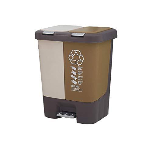 SFF Papelera de reciclaje de papelera,Cubo de basura de pedal de aula, Contenedores de basura de plástico grandes de cocina, papeleras de interior