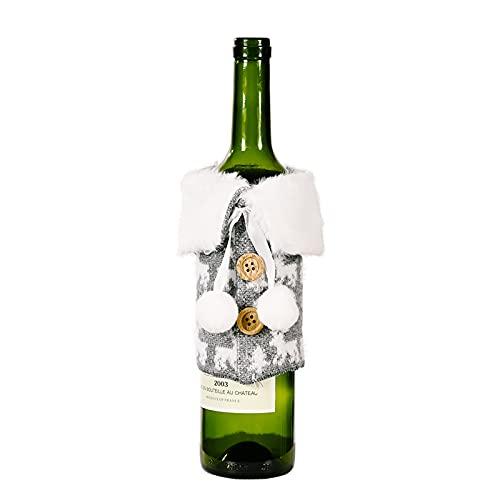 SOQNVLN 1 funda para botellas de vino de Navidad, bolsa protectora para botellas de vino, envoltura de regalo, decoración de fiesta de Navidad, color gris