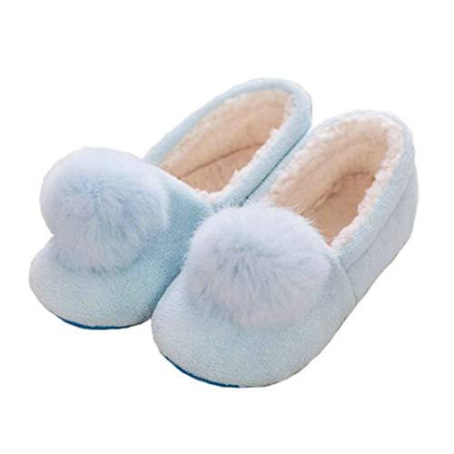Pink/Blue Cartoon Charm Hausschuhe für Frauen Warme Plüsch Hausschuhe Booties Indoor Home Schuhe für Damen