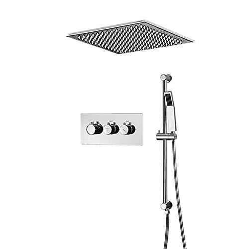 WY-YAN Sistema de ducha termostática con la cabeza de ducha de lluvia y Wall Mounted portátil, de alta presión precipitaciones grifo de la ducha Conjunto de Conjunto de baño, fácil de controlar la pre