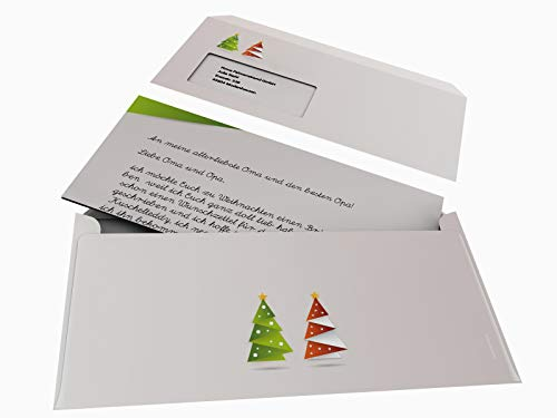 navideño de árbol de Navidad de papel de Origami Verde, 50hojas A4+ 50Carcasapara Ventana de sobres DIN LANG, fürlaser/Ink/Copy/Mano