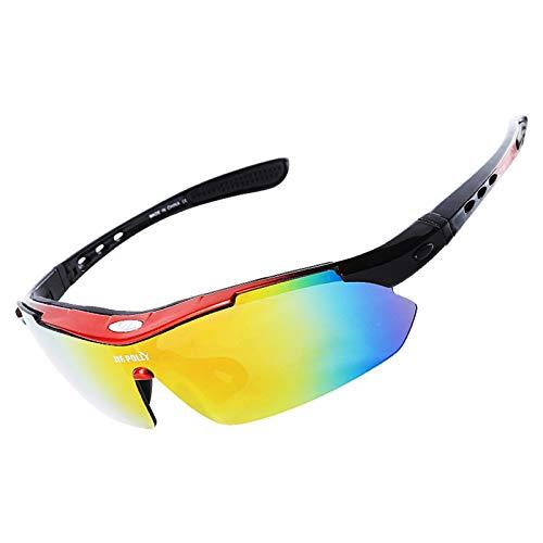 AmDxD PC Fahrradbrille Polarisierte Schneebrille Radsportbrille Sonnenbrille für Motorrad Fahrrad Helmkompatible, Rot