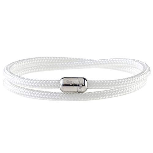 Wind Passion Bracciale Bianco con Magnete Corda Intrecciato Di Altissima Qualità per Uomo e Donna, Taglia X-Large