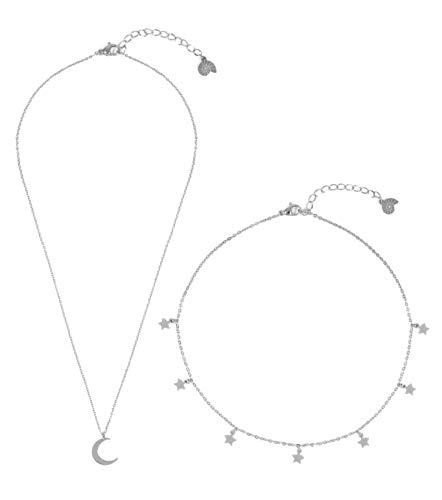 Happiness Boutique Damen Mond und Stern Schmuckset in Silberfarbe 2-TLG. | Zarte Kette mit Halbmond Anhänger und Choker Kette