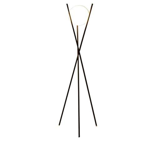 QIFFIY Lámpara de pie nórdico moderna bola de cristal dorado lámpara de pie trípode lámparas de pie de metal para sala de estar, dormitorio, lámparas de pie (color: negro, tamaño: 79 cm)