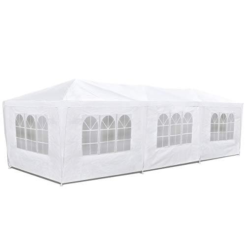 McHaus Careve - Carpa jardín impermeable de 3 x 9 m para eventos 8 paredes con ventana, color blanco
