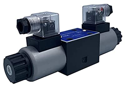 Hydraulic Directional Control Solenoid Valve D03 (NG6) 21 GPM 4560 psi, AC or DC 3 Position… (12VDC, H-All Ports Open to Tank in Center Position) by Fluidhaus