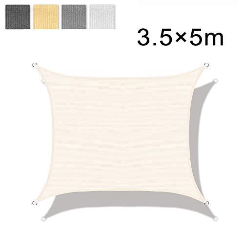 LOVE STORY Tenda da Vela Parasole(HDPE) Rettangolare 3.5×5m Beige Protezione UV per Terrazza Campeggio Giardino Esterno
