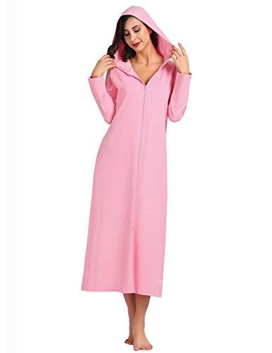 Zexxxy Robes de Bain pour Femmes Sweat à Capuche en Coton Kimono Wrap Warm Long Manteau de Maison Rose L
