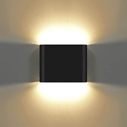 KAWELL 6W Moderno Applique da Parete LED Lampada da Parete Alluminio Lampada da Muro Impermeabile IP65 Interno Esterno per Camera da Letto Bagno Soggiorno Scale Portico Corridoio, Nero 3000K