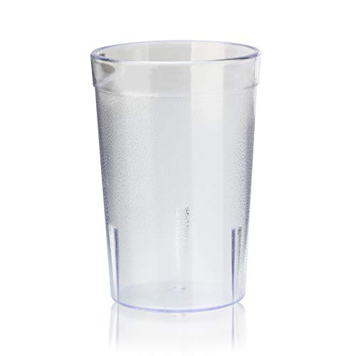 New Star Foodservice 46656 Tumbler Beverage Cup, Stackable Cups, Break-Resistant Commercial SAN Plastic, 8 oz, Clear, Set of 72