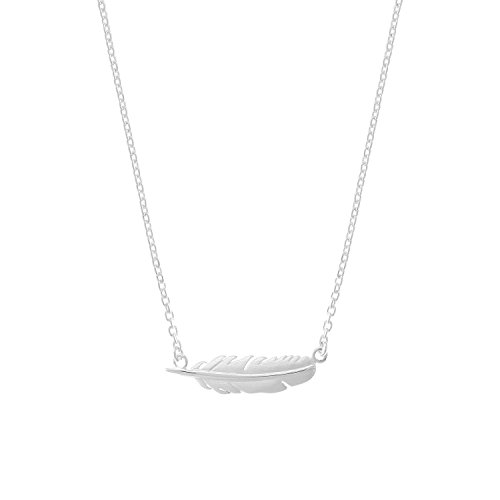 Boma Jewelry Sterling Silver Feather Necklace, 16 inches