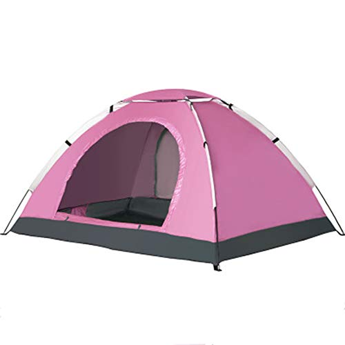 WZP- Pop Up Tent for 3-4 Person Automatic Opening Hydraulic Double Layer Tent - Ultra Large Waterproof Dome Tent with Porch - 100% UV Protected Family Camping Tents with Carrying Bag,pink