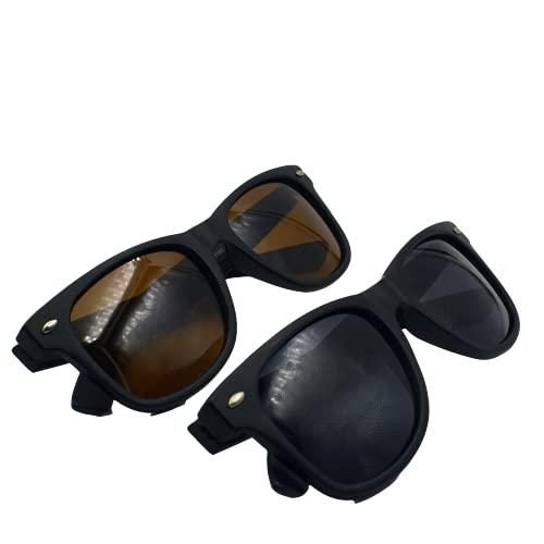 Gafas de sol polarizadas , Gafas de sol unisex adulto (PACK 2, Gris+Marrón)