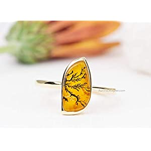 Yellow Dendritic Agate 14K Gold Alternative Engagement Ring