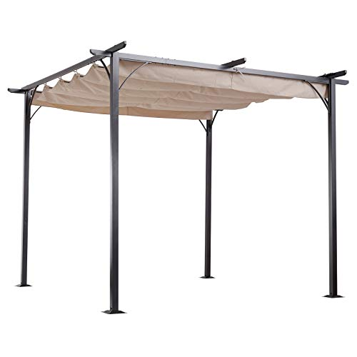 Outsunny 3 x 3(m) Metal Pergola Gazebo Awning Retractable Canopy Outdoor Garden Sun Shade Shelter Marquee Party BBQ Beige