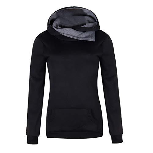 MEIPIQI Sudadera con capucha para mujer, estilo retro, de manga larga, ajustada, deportiva, 2021, monocolor,...