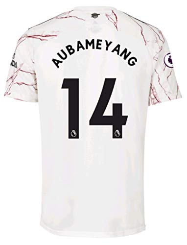Jertinhf 2020-2021 Kids/Youths Away Soccer Jersey/Short/Socks Colour White (Arsenal Aubameyang #14(8-9years/size24))