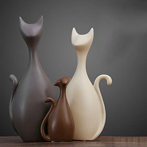 jiaju Cerámica Familia Figurines Figuras Nordic Animal Sala de Estar Decoración de la casa Artesanía para Regalos de Boda (Color : Three-Piece Suit)