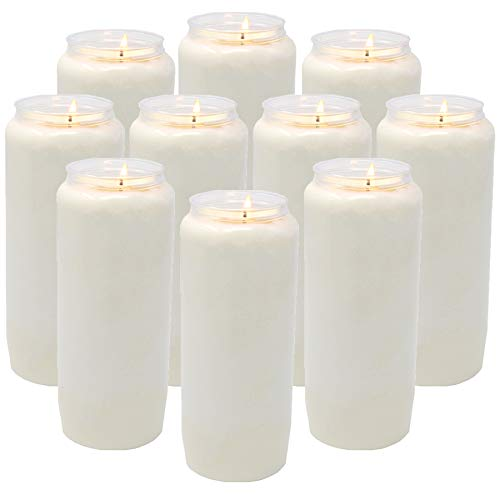 Nine Day memorial prayer Candle in Plastic Jar - Bulk 10 Pack- large Tall white pillar votive unscented vegetable oil candles to use in religious sanctuary praying or emergency blackout candels