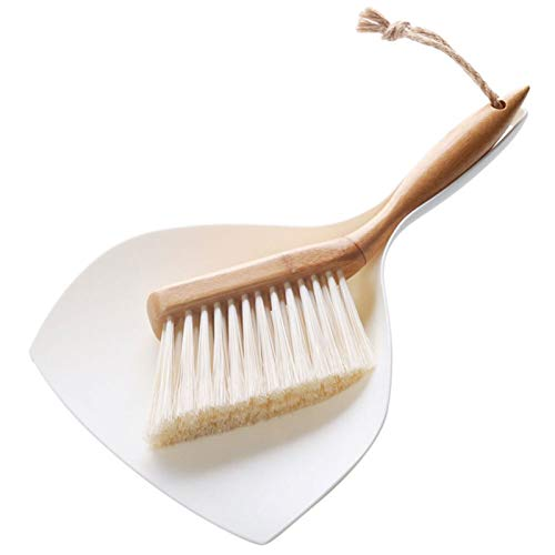 Mini Dustpan Set Broom Shovel Bamboo Handle Long Hair Dusting Shovel Cleaning Brush Dust Collector Tool Kitchen Room Household Cleaning Supplies (Color : Broom Shovel Set, Size shows)