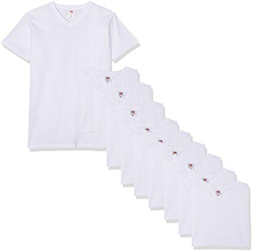 Fruit of the Loom Herren V-Neck Valueweight T-Shirt, weiß, XXL (10er Pack)