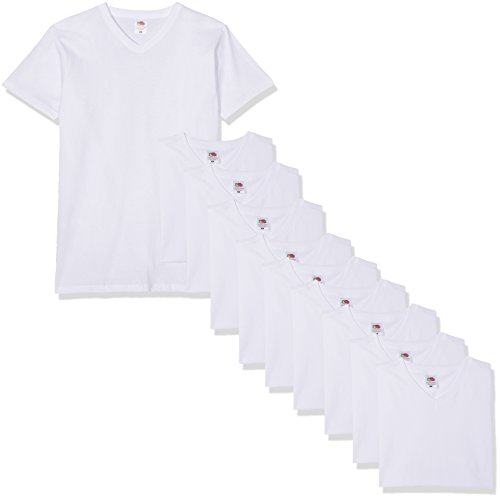 Fruit of the Loom Herren V-Neck Valueweight T-Shirt, weiß, XXL (10er Pack)