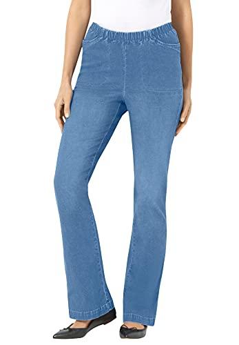 Woman Within Women's Plus Size Wide Leg Fineline Jean - 22 W, Light Stonewash Blue