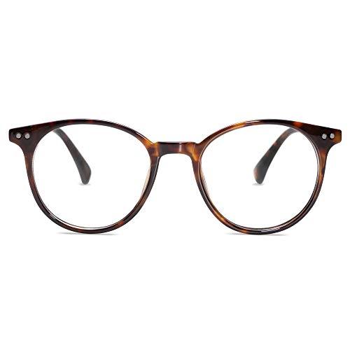 SOJOS Runde Brille mit Blaulichtfilter Blockieren Blaue Licht Brille ohne sehstärke Computerbrille Retro SJ2113 mit Schildkröten Rahmen / Anti-blaulicht Linse