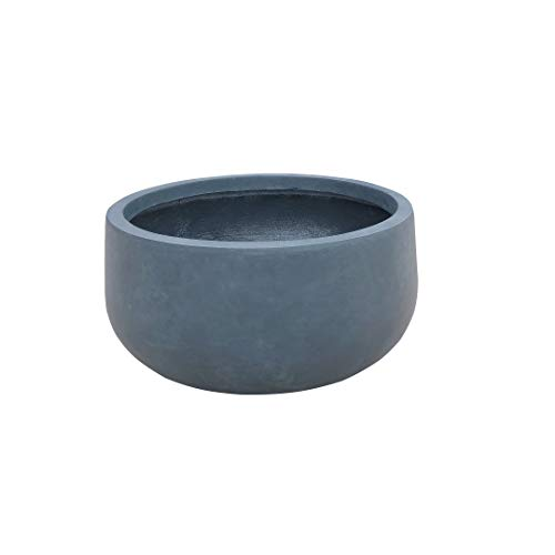 Kante RC0051B-C60121 Lightweight Concrete Outdoor Round Bowl Planter, Charcoal