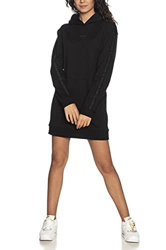 Calvin Klein Vestido de mujer con logotipo y capucha Negro XS