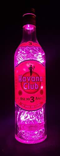 Havana Club - Flaschenlampe mit 80 LEDs Pink Upcycling Geschenk Idee