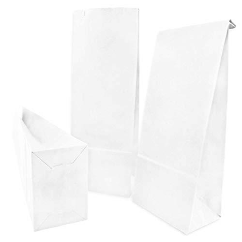 Witte papieren zakken om te verpakken en cadeau te geven – kleine geschenktasjes van kraftpapier – papieren zakje voor adventskalender of kinderverjaardag. 100 witte zakken 26 x 10 cm