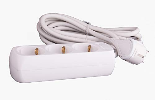 JL Flachstecker 3-Fach Steckdosenleiste mit Kinderschutz und 3m Kabel, TÜV Sicherheit geprüft mit GS Siegel